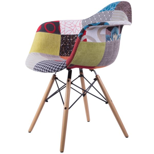 صندلی کروماتیک مدل Colorful Patchwork Armchair Wood Legs