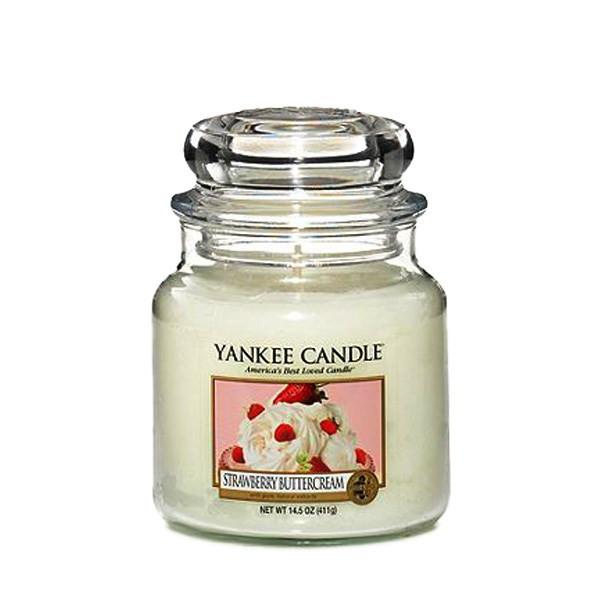 شمع متوسط ینکی کندل مدل خامه کرمدار توت فرنگی