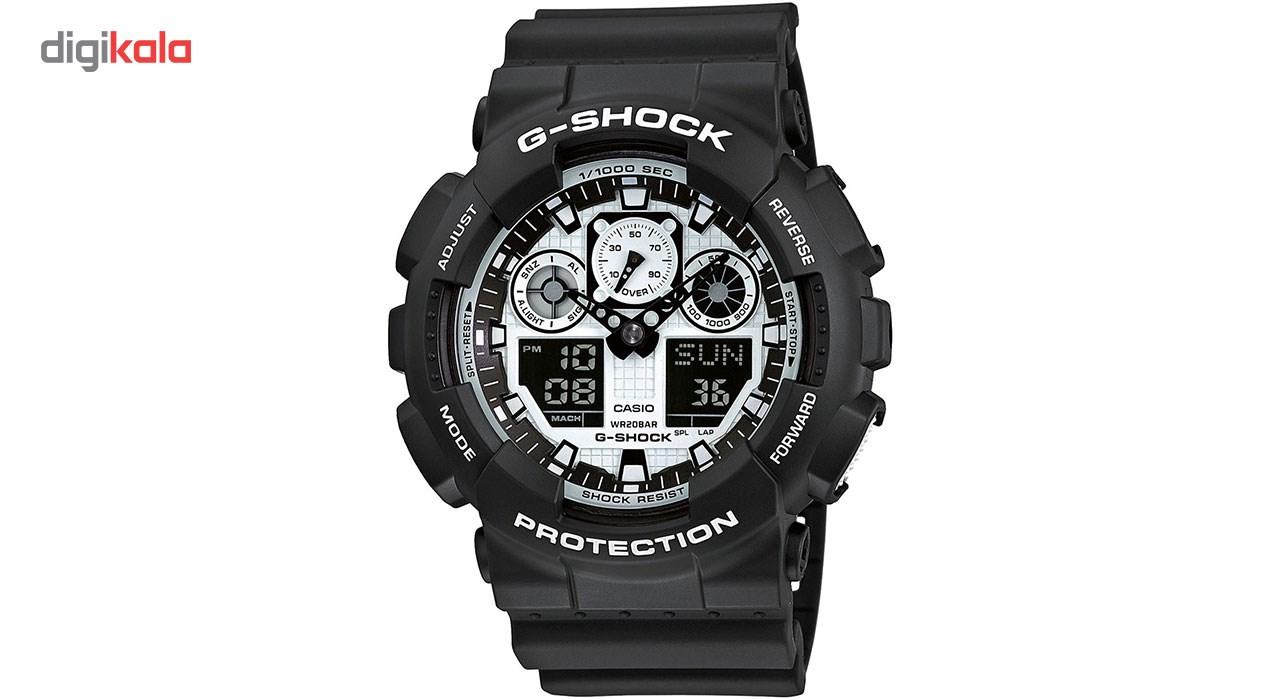 خرید ساعت مچی عقربه ای مردانه کاسیو جی شاک مدل GA-100BW-1ADR | ساعت مچی