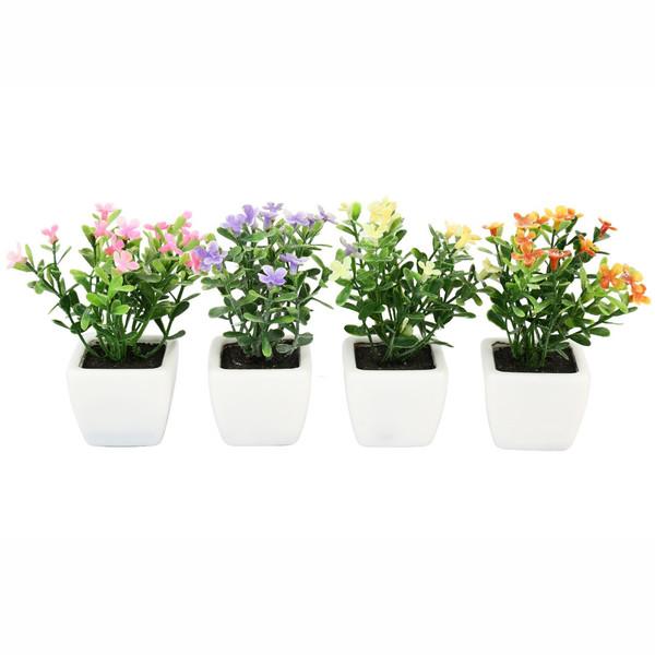 گلدان به همراه گل مصنوعی هومز  طرح مینا مدل 30475 مجموعه 4 عددی