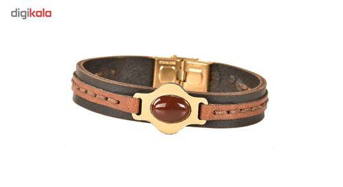 دستبند چرمی کهن چرم سنگ عقیق  مدل BR152-15