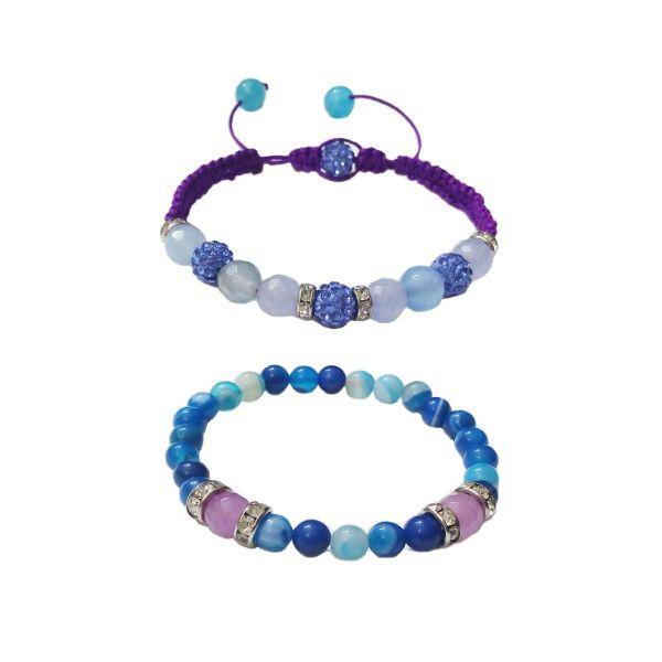 دستبند آدرینا گالری طرح کارنلین آبی کد BM1066 بسته 2 عددی