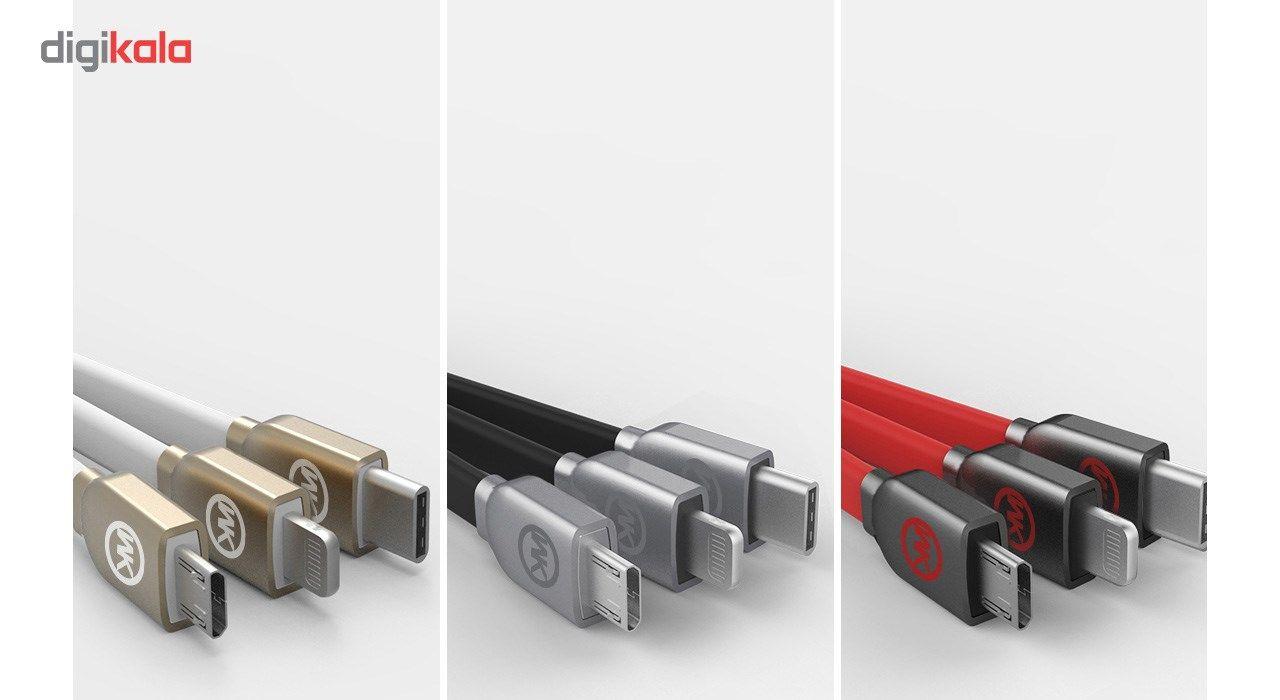 کابل تبدیل USB به microUSB و لایتنینگ و USB-C دابلیو کی مدل Platinum به طول 1 متر main 1 2