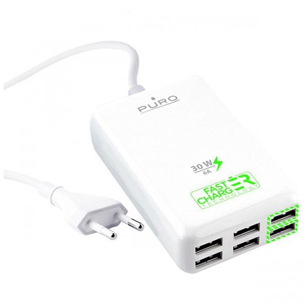 شارژر دیواری پورو مدل Multi-USB Charging Station FCCS6USB6 Fast با 6 درگاه USB