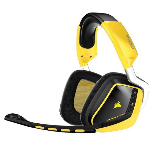 هدست مخصوص بازی کورسیر مدل VOID Wireless Dolby 7.1 RGB Yellow Jacket