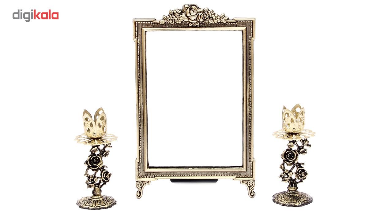 آینه وشمعدان فلزی هفت سین آرت کن مدل AB715