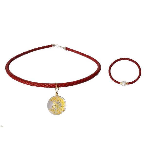 دستبند چرمی و گردنبند مانی چرم BLN-304