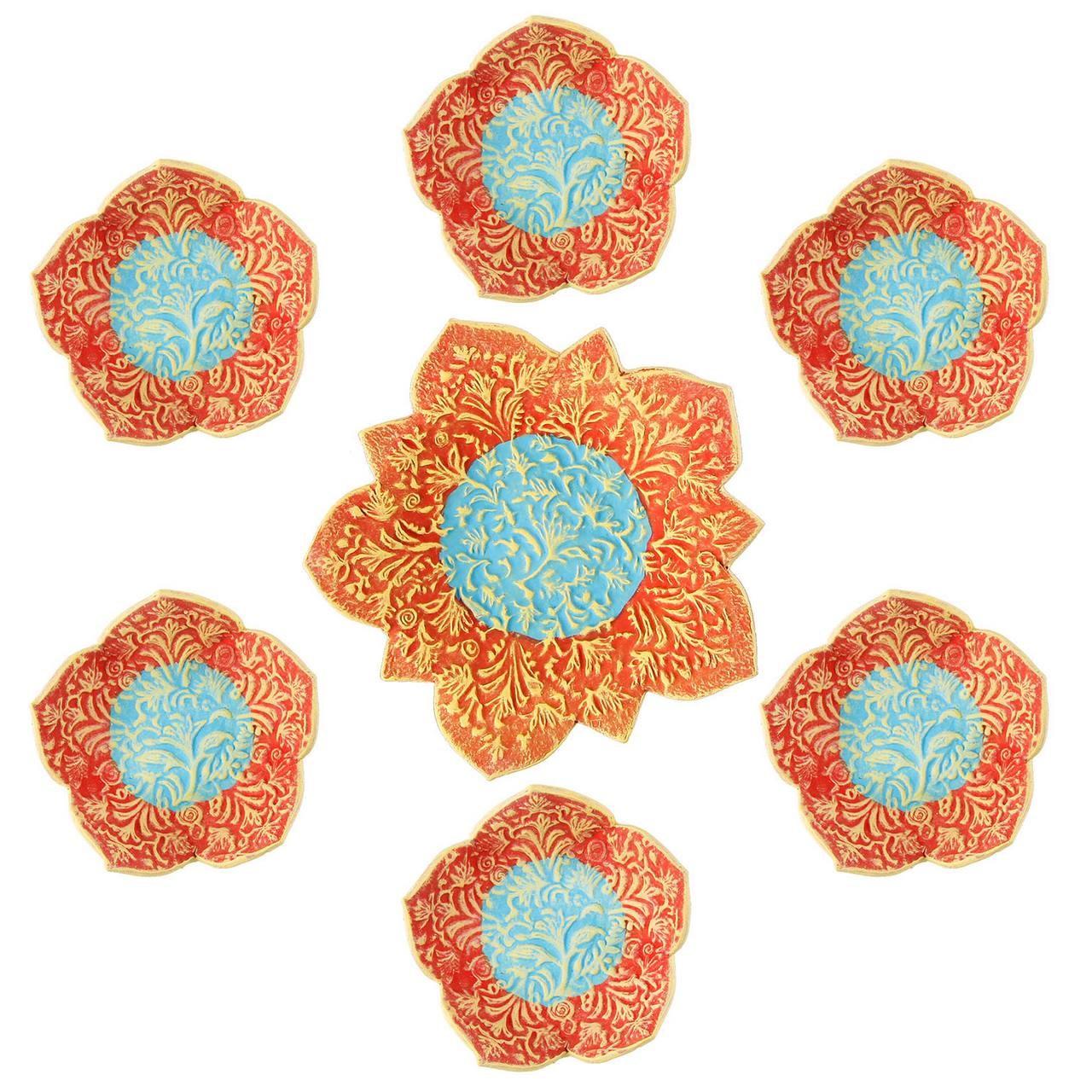 عکس مجموعه ظروف هفت سین سفالی گالری آسوریک کد 86102