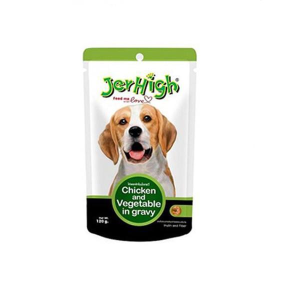 پوچ سگ جرهای مدل مرغ و سبزیجات 120گرم