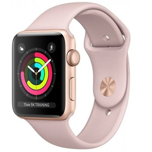 ساعت هوشمند اپل واچ 3 مدل  42mm Gold Aluminum Case with Pink Sand Sport Band