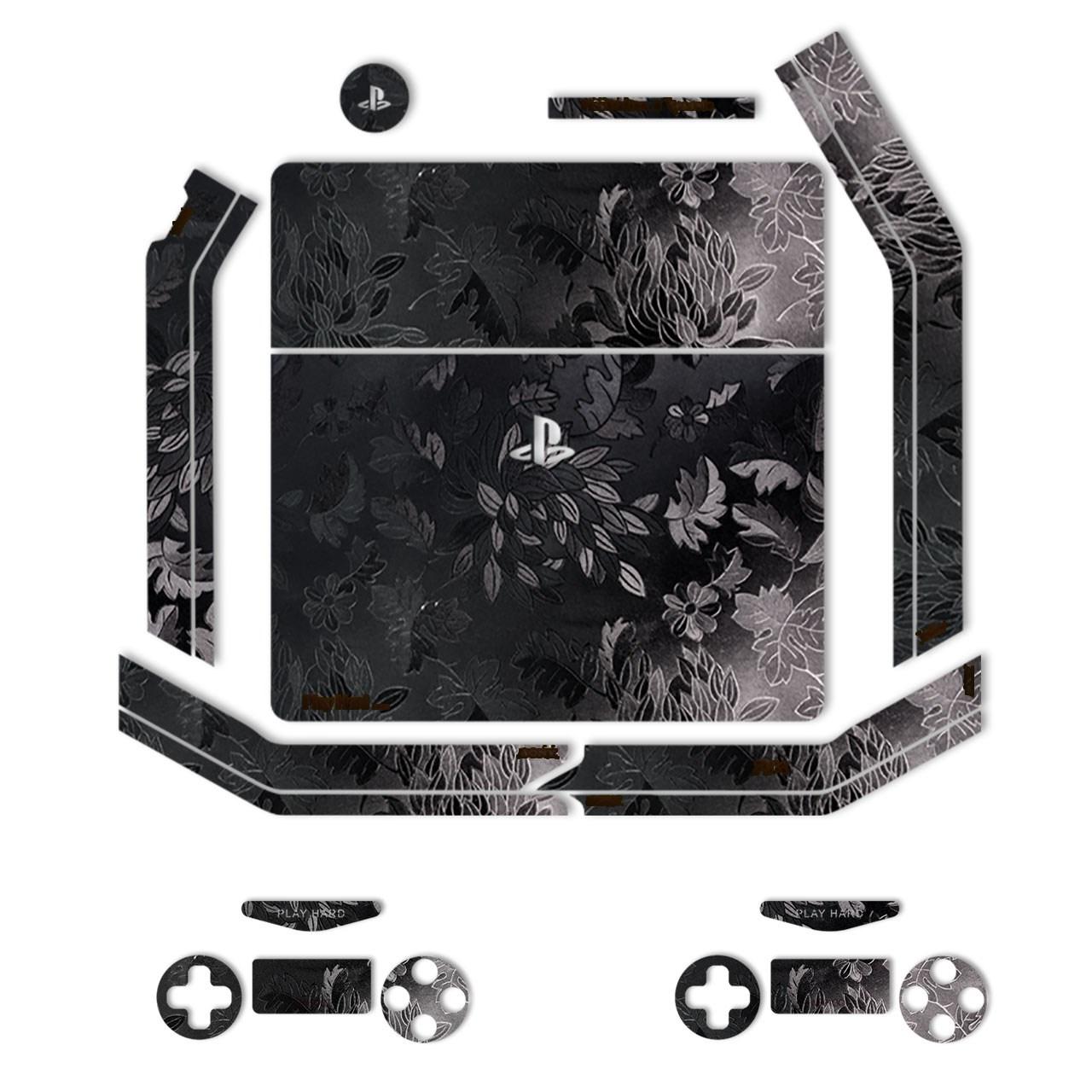 برچسب ماهوت مدلBlack Wild-flower Texture مناسب برای کنسول بازی PS4 Slim