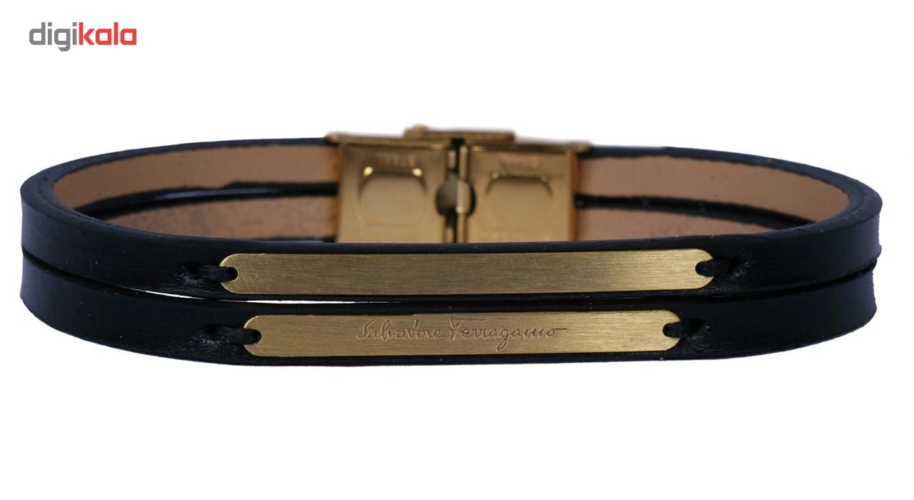 دستبند طلا 18 عیار  نفیس گلد مدل MG16 چرم مشکی
