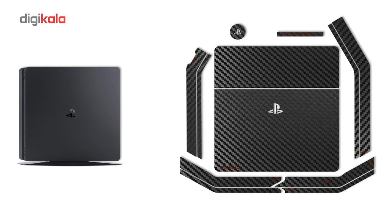 برچسب ماهوت مدلBlack Carbon-fiber Texture مناسب برای کنسول بازی PS4 Slim