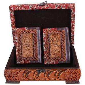 جعبه و کتابهای قرآن و دیوان حافظ طرح چرم و ترمه مدل 00-09 سایز کوچک