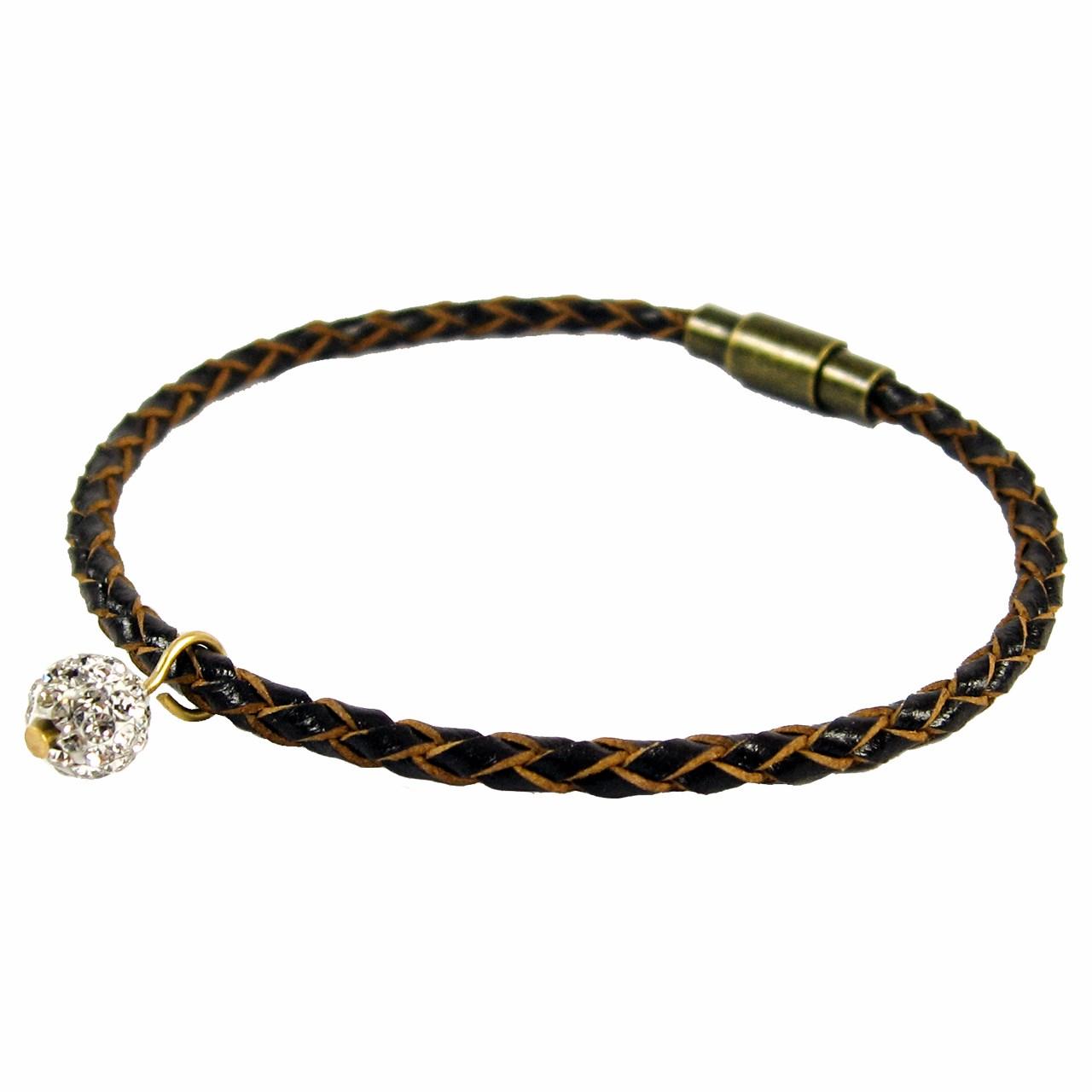 دستبندچرم حامد گالری طرح سواروسکی مدل bl4032