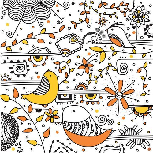 کادوپیچ پارچهای گوشه طرح گل و بلبل 2