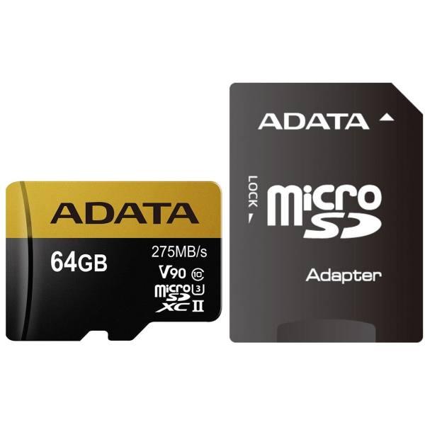 کارت حافظه microSDXC ای دیتا مدل Premier ONE V90 کلاس 10 استاندارد UHS-II U3 سرعت 275MBps همراه با آداپتور SD ظرفیت 64 گیگابایت