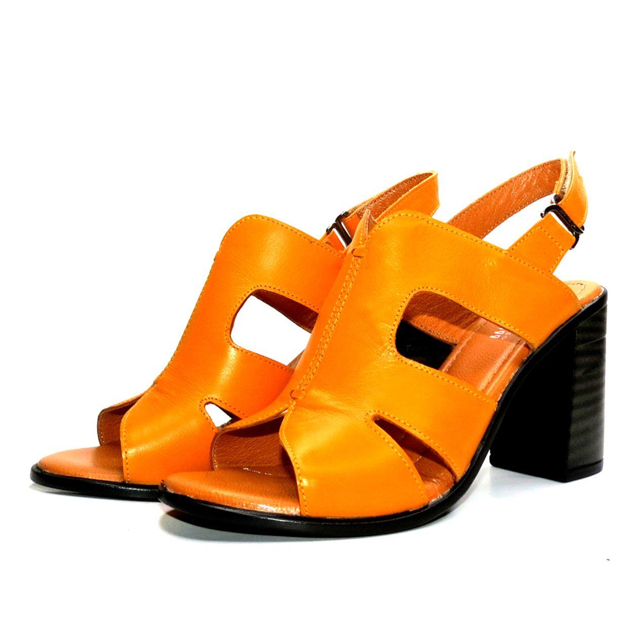 صندل زنانه آر اند دبلیو مدل 654 رنگ پرتقالی -  - 5