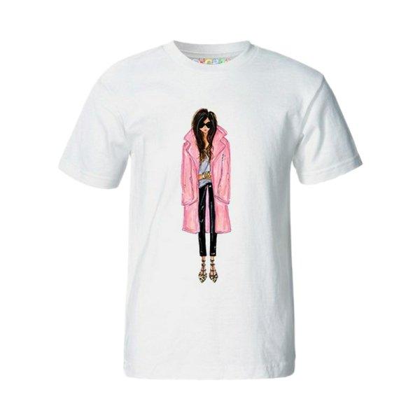 تی شرت آستین کوتاه زنانه چاپ سی کد 02mw