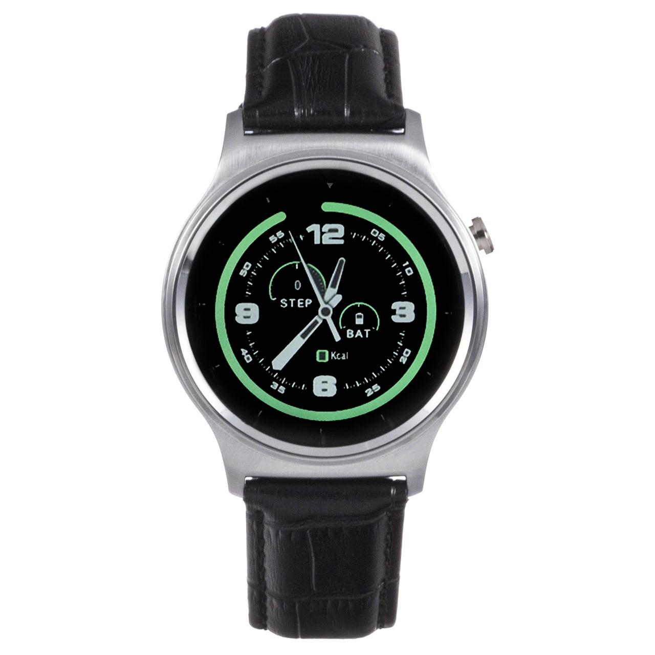 ساعت هوشمند تی تی وای جی موو مدل GW01 silver with black leather strap