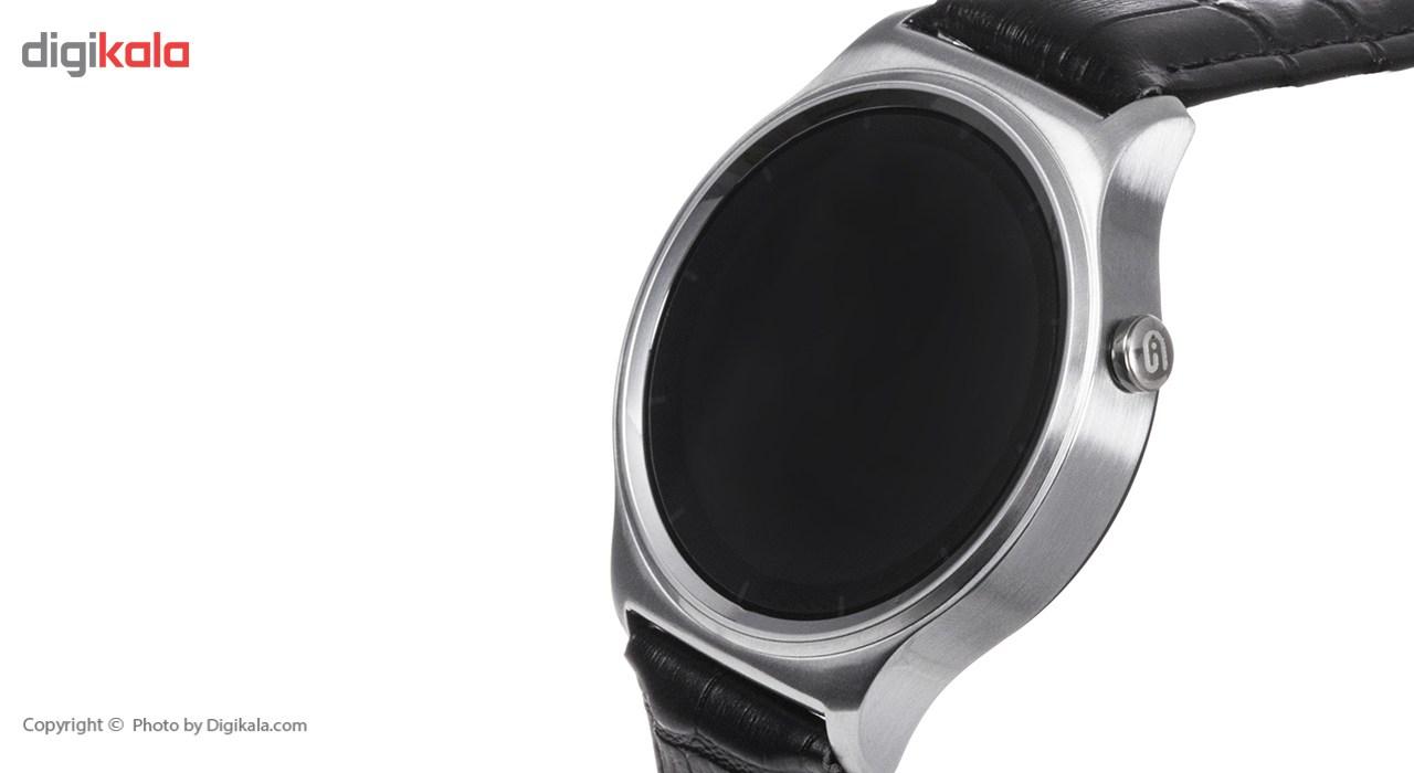 خرید ساعت هوشمند تی تی وای جی موو مدل GW01 silver with black leather strap