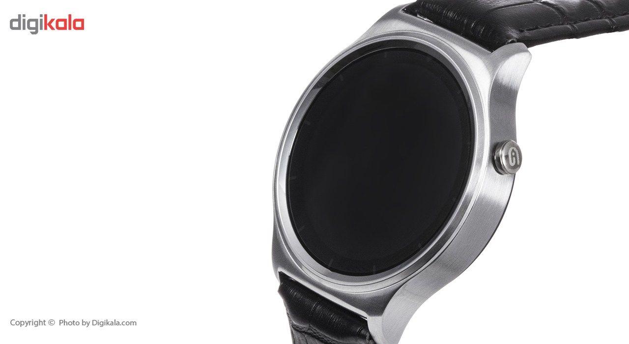 ساعت هوشمند تی تی وای جی موو مدل GW01 silver with black leather strap main 1 1