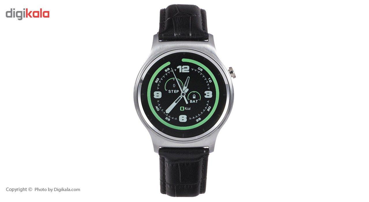 ساعت هوشمند تی تی وای جی موو مدل GW01 silver with black leather strap main 1 3