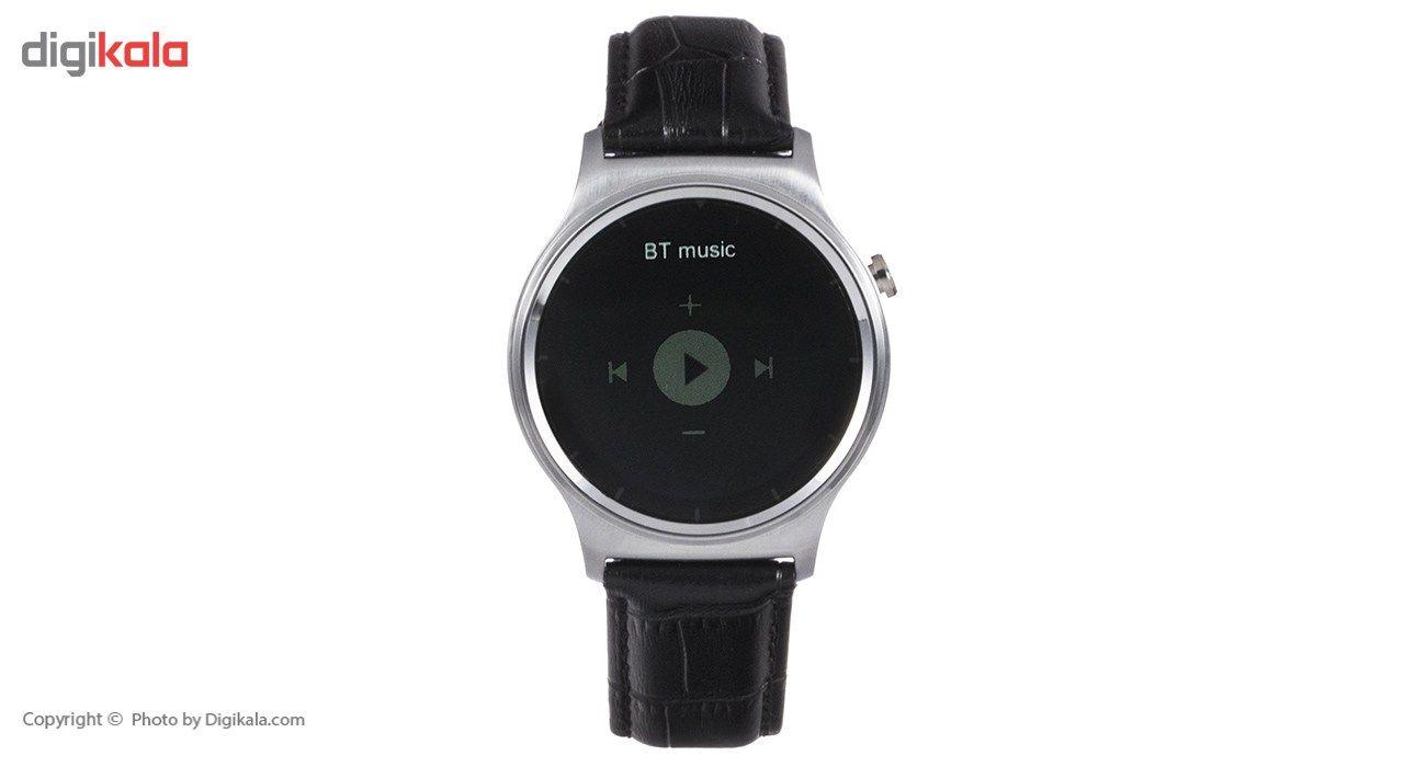 ساعت هوشمند تی تی وای جی موو مدل GW01 silver with black leather strap main 1 4