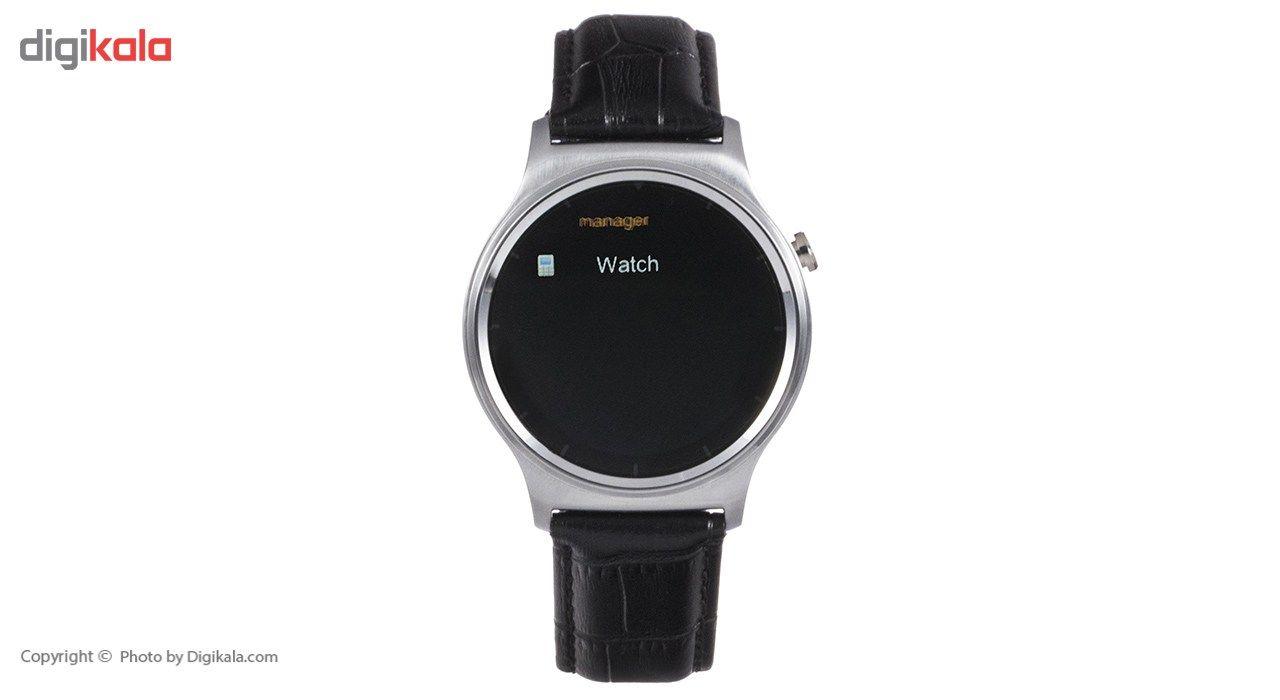 ساعت هوشمند تی تی وای جی موو مدل GW01 silver with black leather strap main 1 5