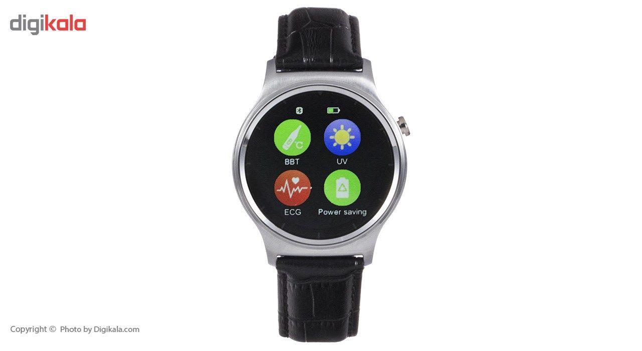 ساعت هوشمند تی تی وای جی موو مدل GW01 silver with black leather strap main 1 6