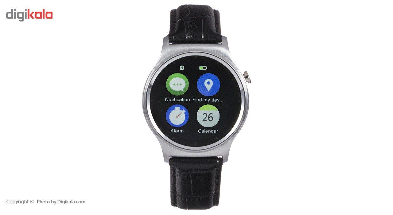 ساعت هوشمند تی تی وای جی موو مدل GW01 silver with black leather strap main 1 9