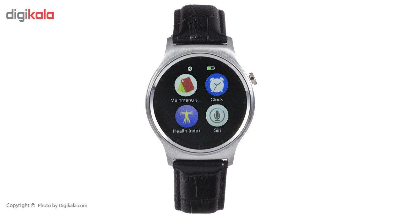 ساعت هوشمند تی تی وای جی موو مدل GW01 silver with black leather strap main 1 10