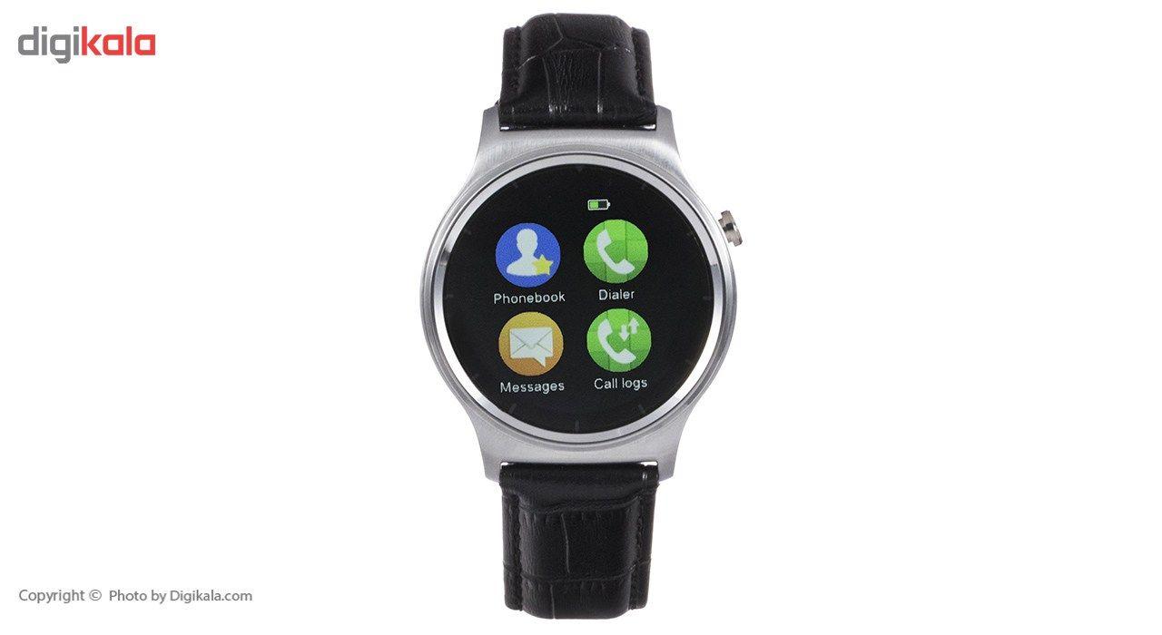 ساعت هوشمند تی تی وای جی موو مدل GW01 silver with black leather strap main 1 11