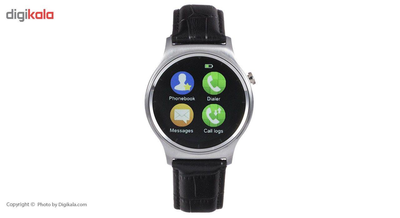 ساعت هوشمند تی تی وای جی موو مدل GW01 silver with black leather strap main 1 12