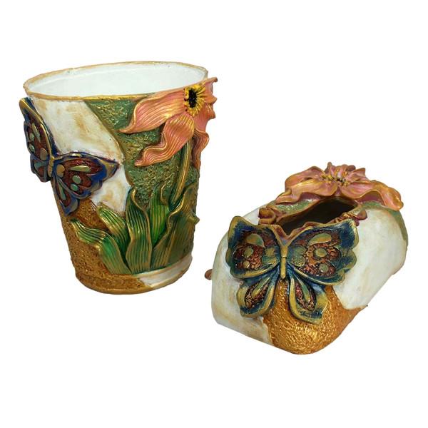 ست سطل و جای دستمال کاغذی دست نگار مدل گل و پروانه