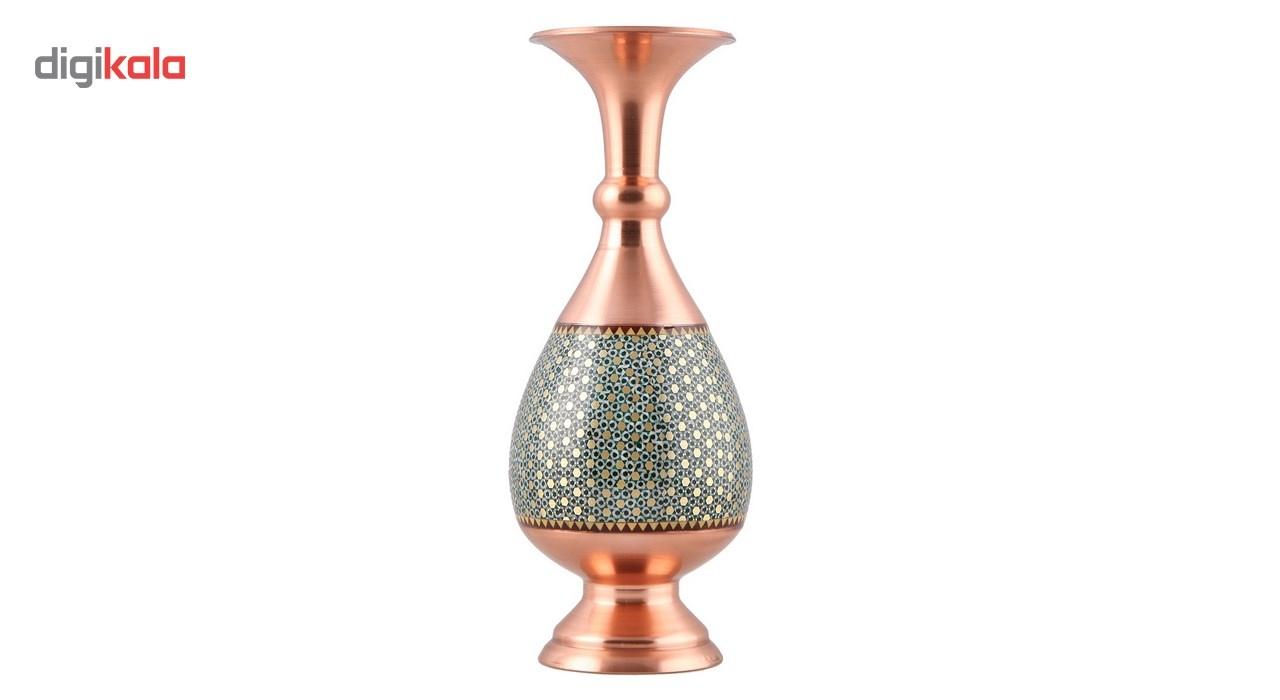 خرید                      گلدان مسی خاتم کاری طرح فیروزه کوب گالری مثالین کد 141128