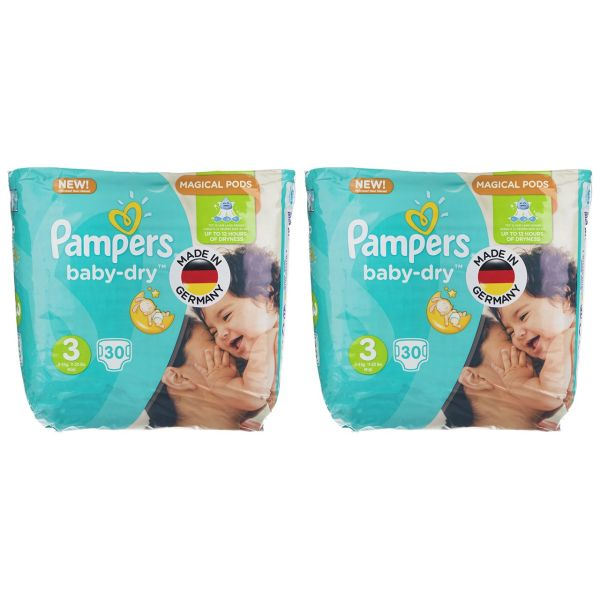 پوشک پمپرز مدل New Baby Dry سایز 3 بسته 30 × 2 عددی
