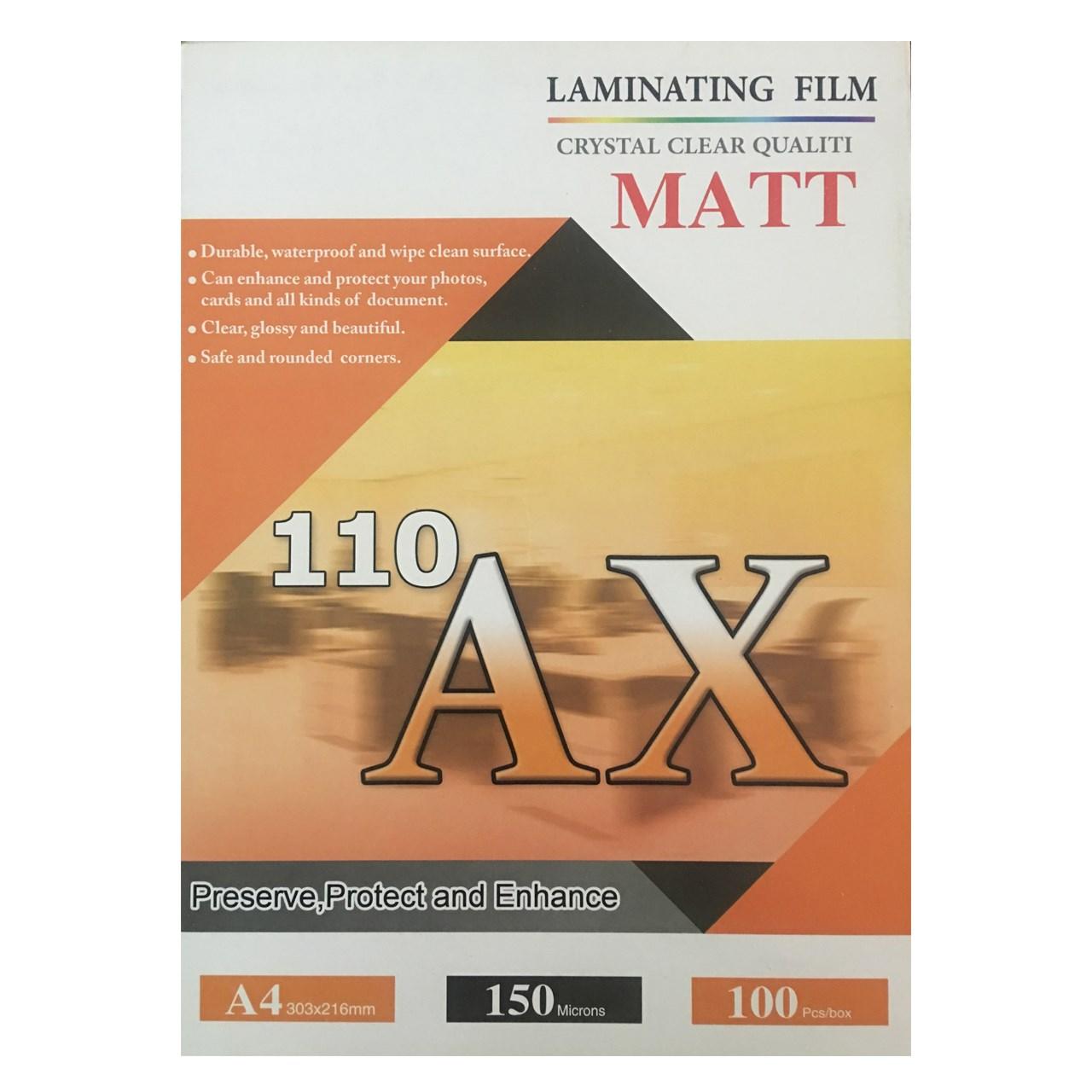 طلق پرس آ ایکس 110 مات مدل 150 میکرون سایز A4 بسته 100 عددی
