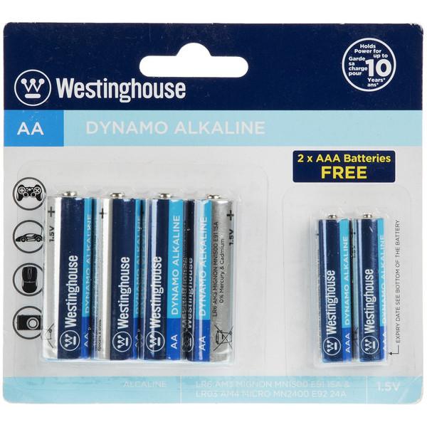 باتری قلمی و نیم قلمی وستینگهاوس مدل Dynamo Alkaline بسته 6 عددی