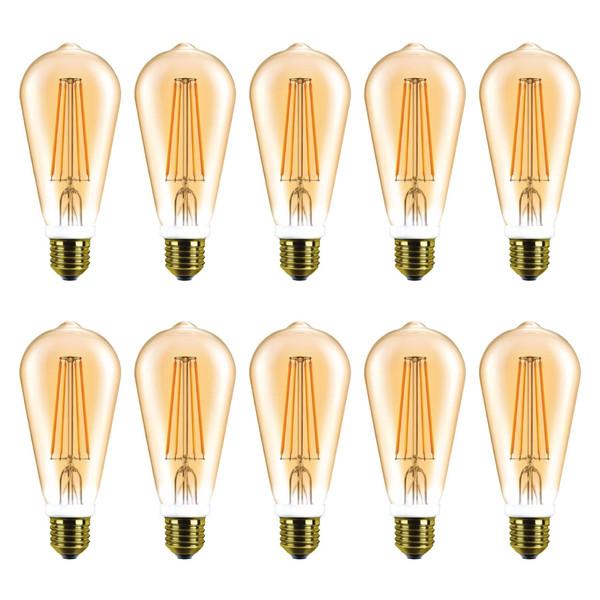 لامپ ال ای دی 8 وات هالی استار کد ST64 پایه E27 بسته 10 عددی