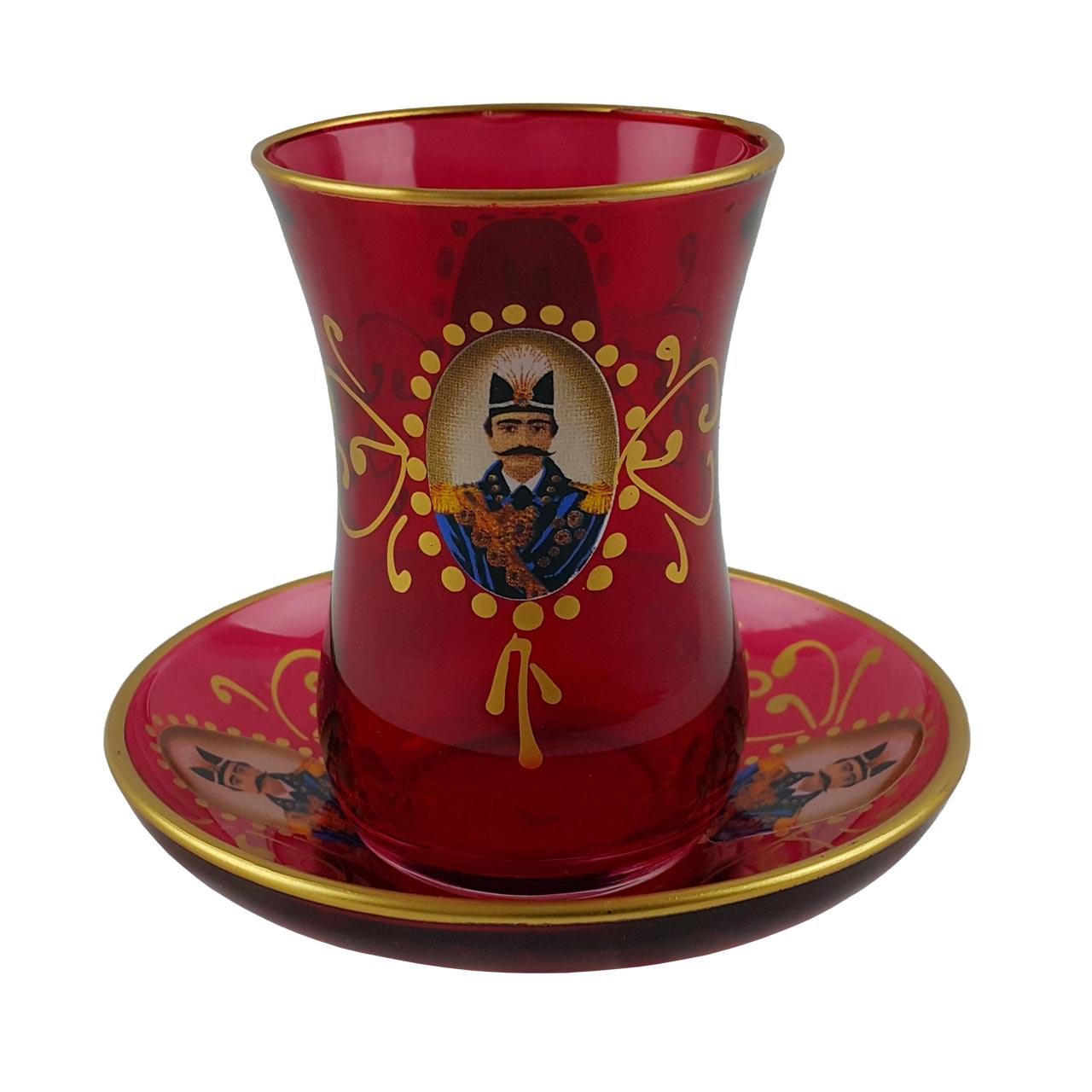 عکس استکان نعلبکی طرح شاه عباسی - بسته 6 عددی