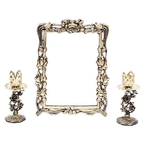 آینه وشمعدان فلزی هفت سین آرت کن مدل AB714