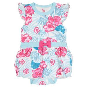 زیر دکمه دار آستین کوتاه دخترانه غنچه مدل گل هاوایی