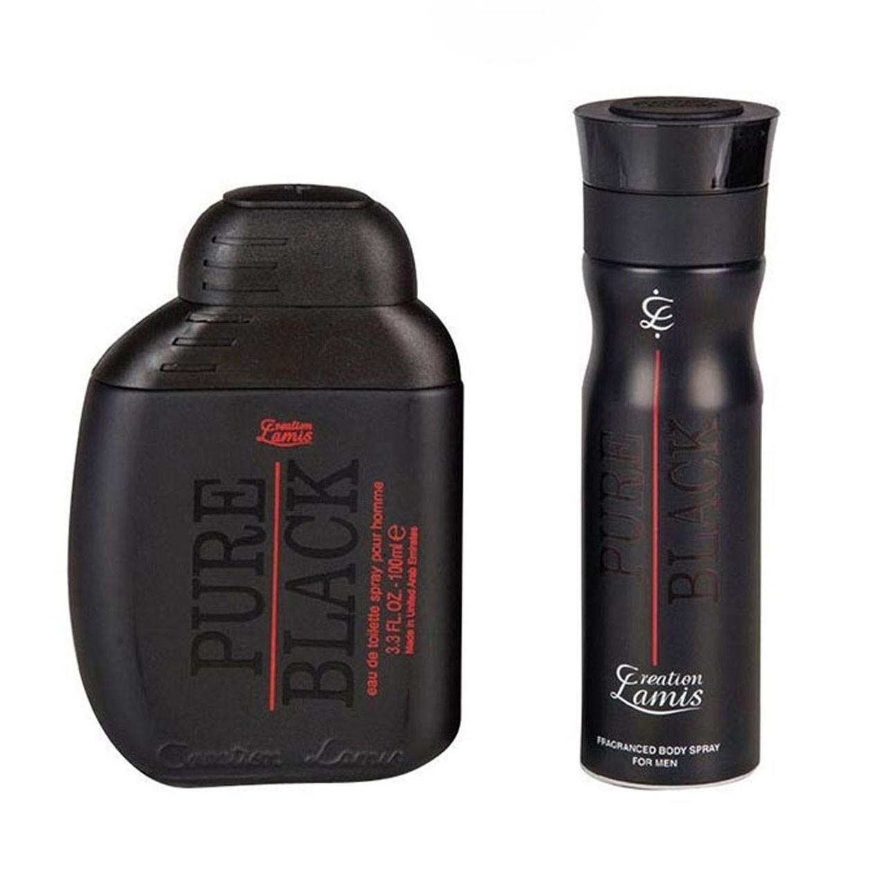 ست هدیه ادوکلن مردانه کریشن لامیس مدل  Pure Black حجم 100 میلی لیتر به همراه اسپری ضد تعریق کریشن لامیس مدل Black Pure و کیف هدیه MB1