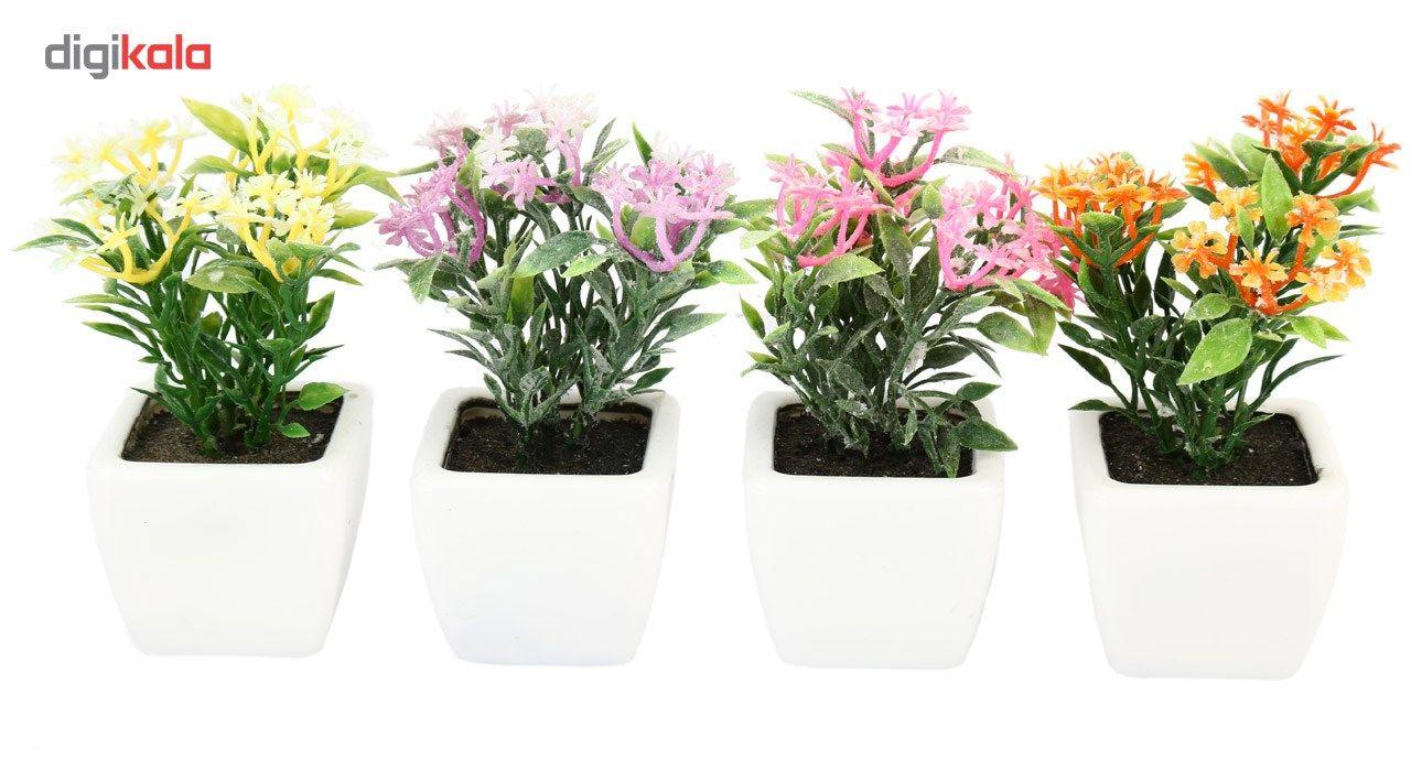 گلدان به همراه گل مصنوعی هومز طرح پنجه ای مدل 30501 مجموعه 4 عددی main 1 1
