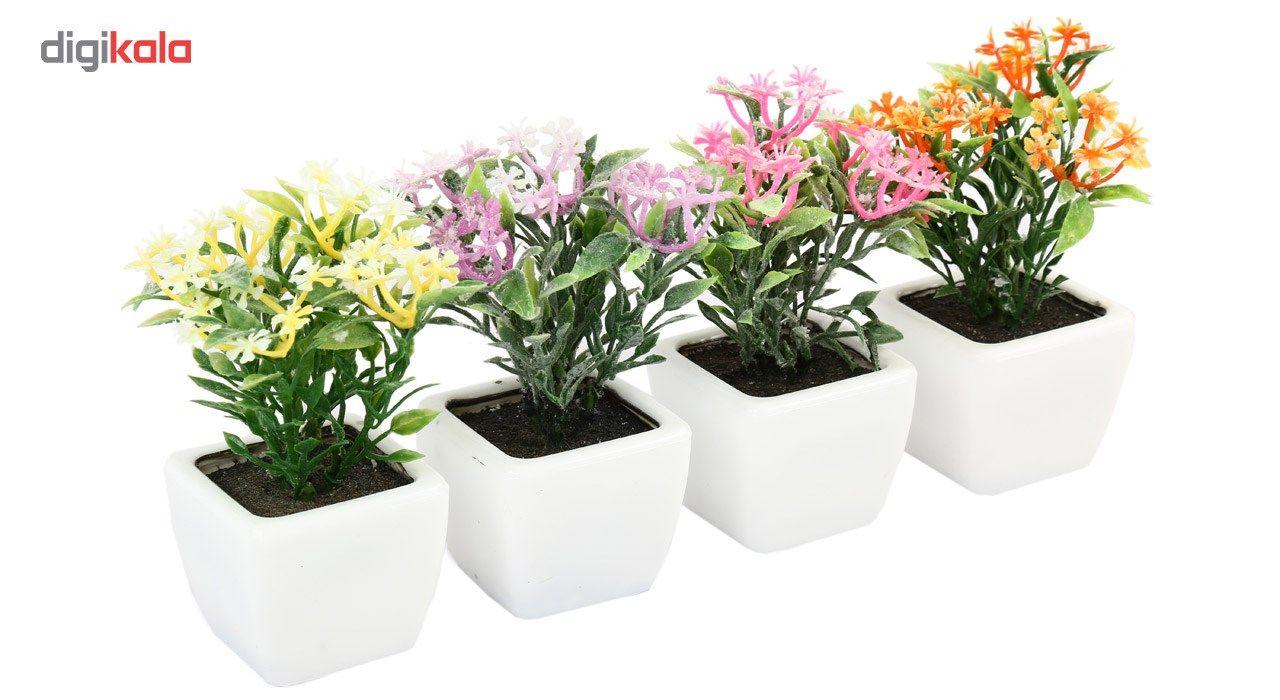 گلدان به همراه گل مصنوعی هومز طرح پنجه ای مدل 30501 مجموعه 4 عددی main 1 2