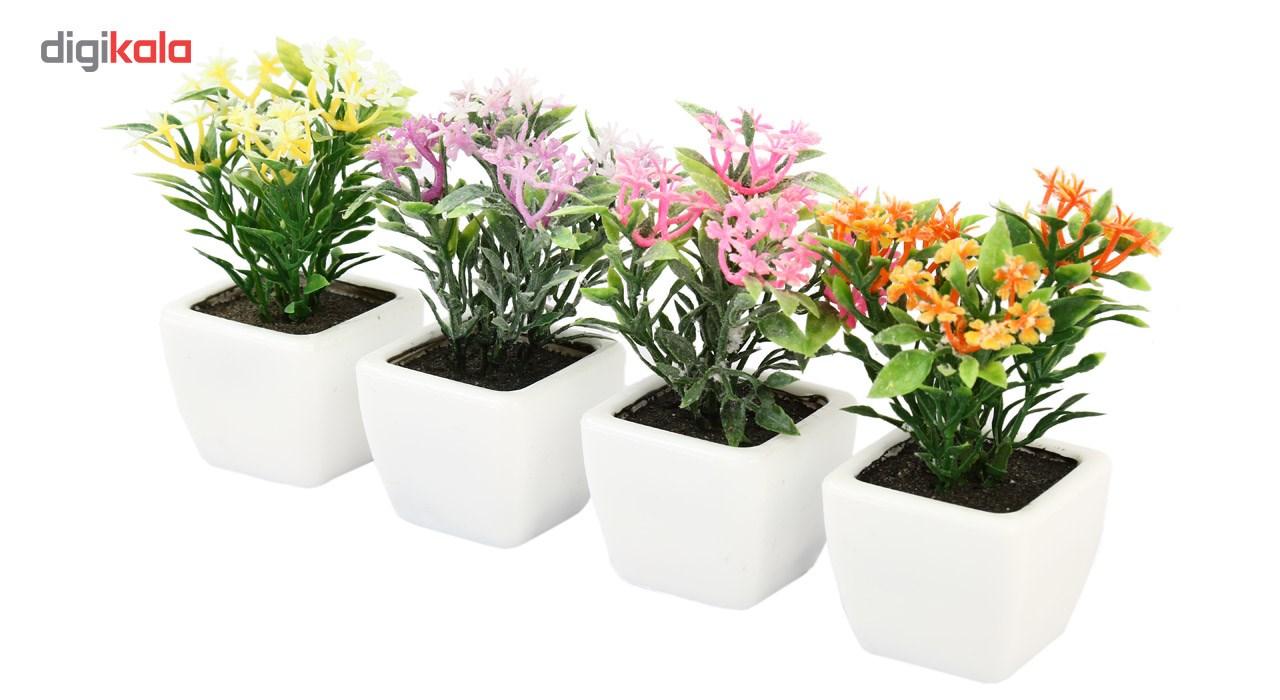 گلدان به همراه گل مصنوعی هومز طرح پنجه ای مدل 30501 مجموعه 4 عددی main 1 3