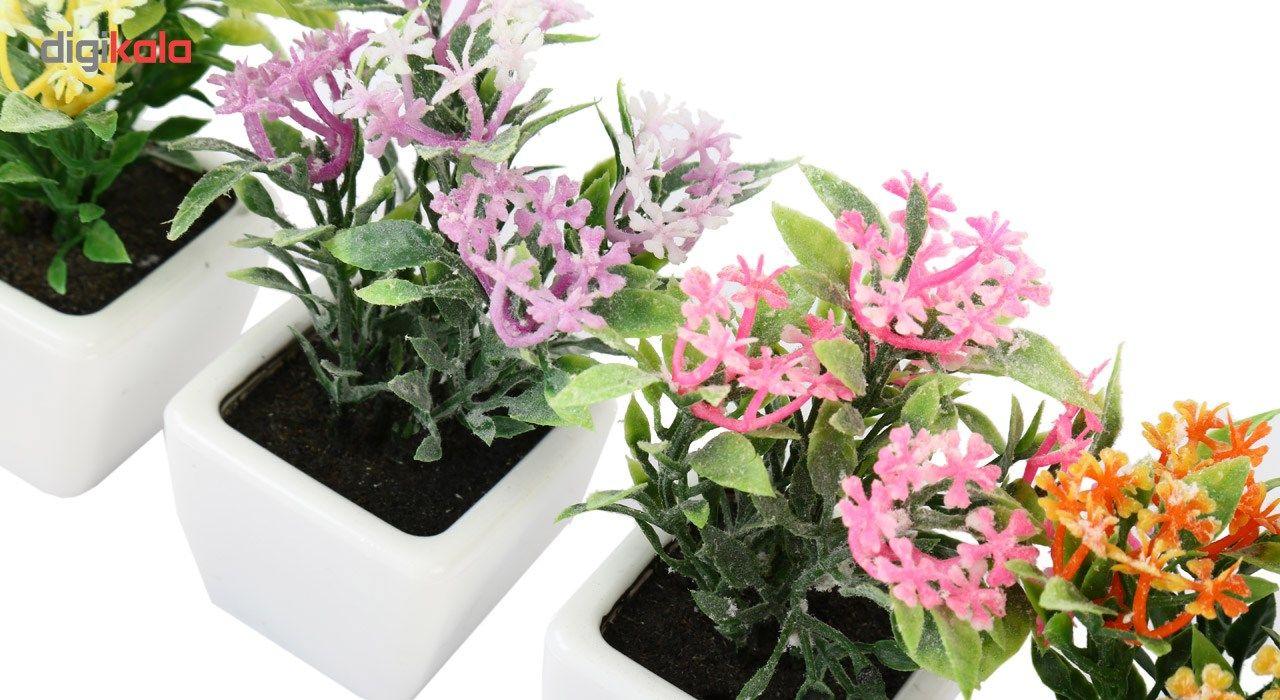 گلدان به همراه گل مصنوعی هومز طرح پنجه ای مدل 30501 مجموعه 4 عددی main 1 4