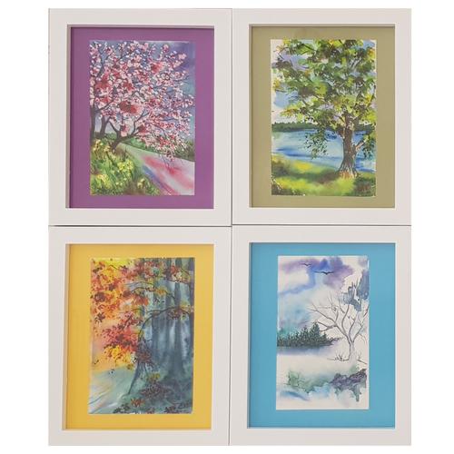 تابلو نقاشی آبرنگ طرح چهارفصل مجموعه 4 عددی