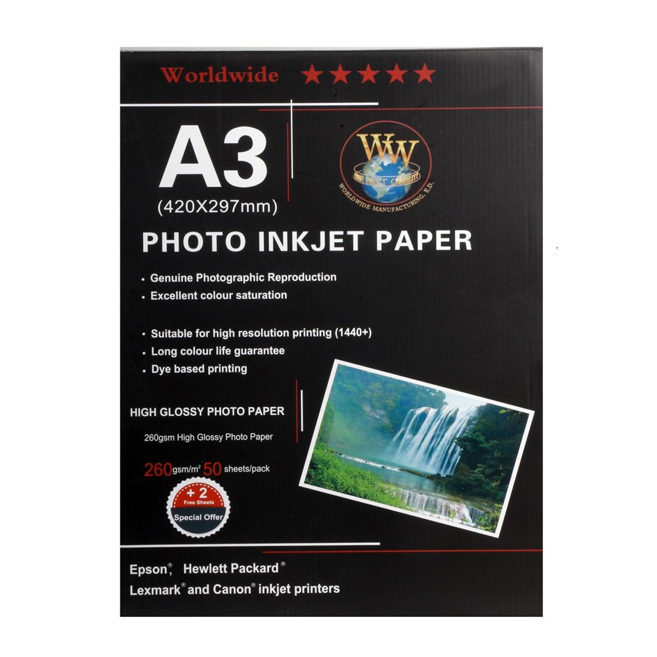 قیمت                      کاغذ عکس ورلد واید مدل Glossy سایز A3 بسته 50 عددی